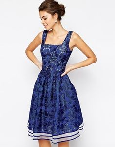 Chi Chi London Allover Lace Full Prom Skater Dress With Square Neck - Navy/cream at Asos.