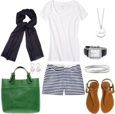 """Navy and Green"" by bluehydrangea ❤ liked on Polyvore"