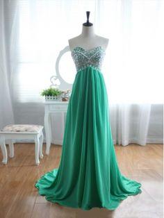 Green Chiffon Rhinestone Strapless Train Prom Dresses, Graduation Dress