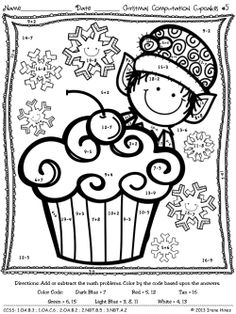 Printables 1st Grade Christmas Math Coloring Worksheets christmas math printables stockings count and number words computation cupcakes color by the code puzzles for december winter christmas