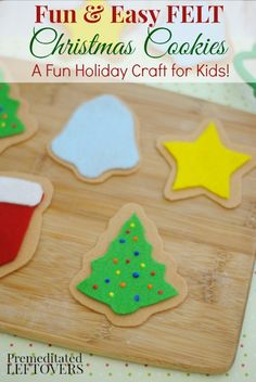 Easy DIY Felt Christmas Cookies Craft tutorial for Kids - This is a fun holiday craft project idea for kids. After they have made the felt cookies, they can use them in imaginative play or as Christmas ornaments. No sewing required.