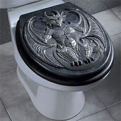 Dragon toilet seat cover - just NO - too many spaces for grim to nestle
