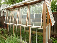 greenhouse made out of windows. recycled windows