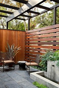 Most Inspiring Redwood Fence Designs Ideas to Style Up Your Yard los angeles horizontal privacy fence patio midcentury with modern outdoor lounge sets living Patio Fence, Outdoor Privacy, Backyard Privacy, Backyard Fences, Garden Fencing, Backyard Landscaping, Outdoor Decor, Outdoor Lounge, Outdoor Living