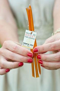 Cute favor idea! Honey sticks.: