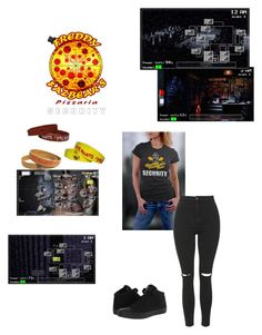 """Casual nightgaurd outfit (im well aware i mixed games for the cameras)"" by xxscenederellaxx ❤ liked on Polyvore featuring Freddy, Topshop and Converse"