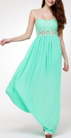 Floral Cutout Waist Maxi Dress - Mint