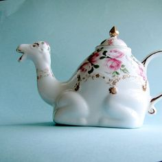 Camel teapot with pink roses and 22kt gold by JulissiaAndCo, $48.00