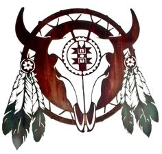 Steer Skull Native American Shield Southwestern Decor Metal Wall Art - Treasure Journeys 24 inches wide x 21 inches high. Great for the den or office. Bull Skulls, Cow Skull, Skull Art, Native American Tattoos, Native American Art, Metal Tree Wall Art, Metal Art, Buffalo Skull, Buffalo Art