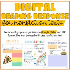 Digital Reading Response - Nonfiction by Cyr's Gears Comprehension Strategies, Reading Comprehension, Reading Response, No Response, Text To Text Connections, Third Grade Reading, Common Core Reading, Authors Purpose, Literature Circles