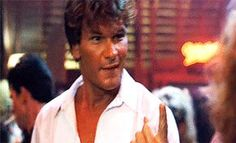 "Who could resist that little ""Come here, we're gonna have some fun"" look.... Whoooo!!  Patrick Swayze as Johnny Castle in Dirty Dancing."