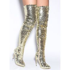 Sequins Of Events Thigh-High Boots GOLD (Final Sale) ($15) ❤ liked on Polyvore featuring shoes, boots, metal, over-the-knee boots, sequin boots, pointed toe over the knee boots, pointy-toe boots, gold sequin boots and over the knee stiletto boots