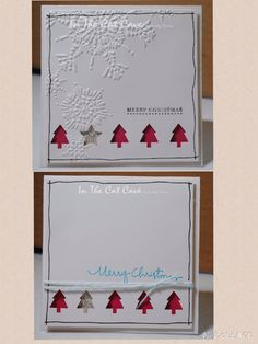 CAS | Materials Used (All Stampin Up): Whisper White card stock, Northern Flurry embossing folder, basic black marker, silver glitter paper, Melon Mambo card stock, Teeny Tiny Wishes stamp set,  Tempting turquoise ink, Pool Party baker's twine, Christmas Greetings stamp set, and merry mini punch pack
