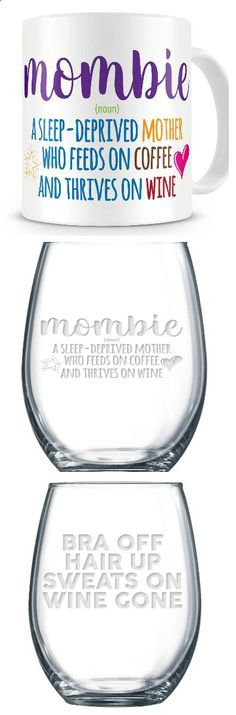 Wine Glasses - 21 oz stemless wine glass, made and decorated in the USA…