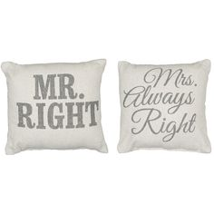 Rustic Mr/Mrs. Right Accent Pillows//