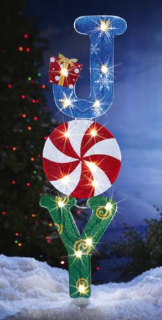 "42""lighted Joy Christmas Yard Art Stake Decor Holiday Garden Candy Outdoor"