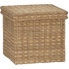 Crate & Barrel Palma Small Square Lidded Basket (€35) ❤ liked on Polyvore featuring home, home decor, small item storage, weave basket, file tote, woven basket, crate and barrel baskets and lidded basket