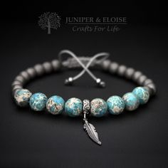Mens Bracelet with 8 mm Turquoise Variscite, Matte Hematite and 925 sterling Silver Feather charm , Adjustable Bracelet For Men , Unisex by JUNIPERANDELOISE on Etsy