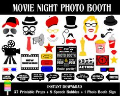 Movie Night Photo Booth Props –46 Pieces(38 props,8 speech bubbles,1 photo booth sign)-Cinema Props, Hollywood Photo Props-Instant Download