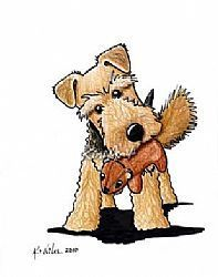 Art: Welsh Terrier With Squirrel Toy by Artist KiniArt