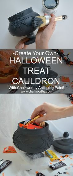 Looking for a quick and easy Halloween decoration?! We made it simple! Hot glue your design on your favorite vase and paint over it with Chalkworthy Cast Iron. Let dry for 4 hours and then apply Chalkworthy's Black Aging wax. Fill with candy and enjoy!!!