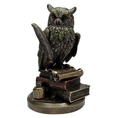 "Eagle Owl on Books Statue - Bronze Finish 9"" tall Fantasy Harry Potter Sculpture"