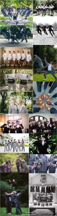 funny groomsmen wedding photo ideas / http://www.deerpearlflowers.com/fun-groomsmen-photo-ideas-and-poses/ #funnyweddingphotos #weddingideas
