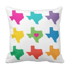 Texas State Pattern Throw Pillow - Bright Colors