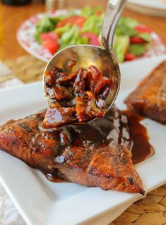 Balsamic Grilled Chicken with Spicy Honey Bacon Glaze.  Chicken is marinated, grilled and then topped with the glaze.