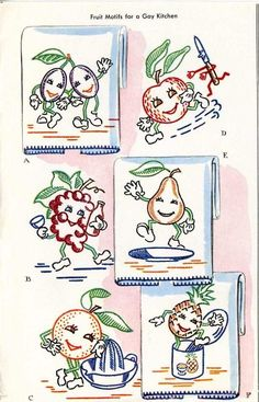 Vintage Embroidery Transfer repo 1419 Animated Fruit for Kitchen Dish towels 50s