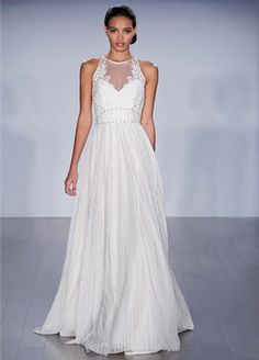 Halter A-Line Wedding Dress  with Natural Waist in Lace. Bridal Gown Style Number:33089400