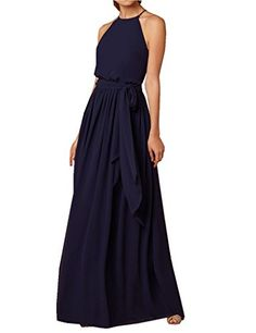 kevins bridal chiffon long evening dresses high neck prom dresses sleeveless navy size 10