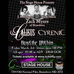 Boonsboro MD! @ZackMack513 @ZMyersOfficial @JRMoore901 #MackMyersMoore at The Stage House on March 3rd. Tickets are on sale now!  Show info and tickets: http://www.stagehouselive.com/event/1406894-zach-myers-jr-moore-zack-boonsboro/