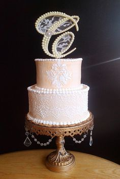 Ivory+Pearls+and+Lace+Wedding+Cake+Topper+by+ParisBakeryPretties,+$68.00