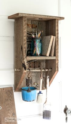 A reclaimed wood branch shelf that's really… anything! Art and paint organizing shelf / Reclaimed wood rustic branch cabinet / FunkyJunkInterior… Barn Wood Projects, Reclaimed Wood Projects, Diy Projects, Carpentry Projects, Project Ideas, Wood Projects That Sell, Upcycling Projects, Woodworking Projects That Sell, Repurposed Wood