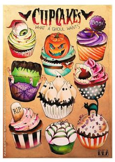 Artist: Dea Vectorink ~ Halloween cupcake illustration ♥ - or, for anytime of year! Halloween Illustration, Cupcake Illustration, Retro Halloween, Holidays Halloween, Happy Halloween, Halloween Poster, Halloween Cupcakes, Halloween Treats, Halloween Decorations