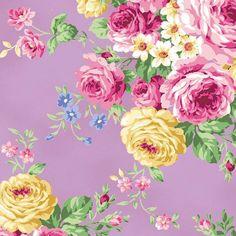 Ruru Bouquet Tea Party Floral Bouquet Purple by WindyRobinCotton