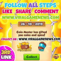 Coin master free spins coin links for coin master we are share daily free spins coin links. coin master free spins rewards working without verification Daily Rewards, Free Rewards, Lotto Winning Numbers, Coin Master Hack, Miss You Gifts, What's The Point, Free Games, Revenge, Cheating