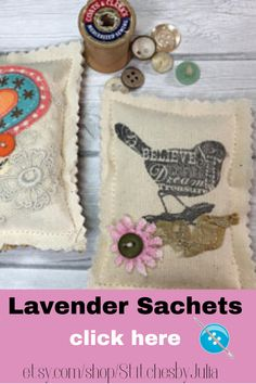 Looking for the perfect handmade gift?  These lavender sachets are so cute and unique. Each is filled with 1/4 cup of dried lavender buds.  So delightful! #lavendersachets #handmade #stitchesbyjulia