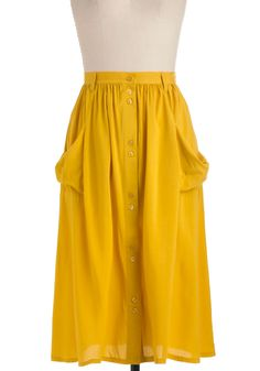 Just Dandy Skirt in Goldenrod - Long, Casual, Vintage Inspired, 70s, Yellow, Solid, Buttons, Pockets