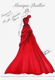 PHOTOS - Longue robe de bal, rouge explosif, imaginée par Monique Lhuillier pour…