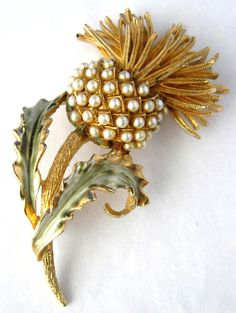 Coro Pearl Thistle Brooch Pin 1960s Gold by JewelryDiscoveries
