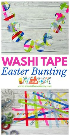 Washi Tape Easter Bunting.  This is a fab DIY craft that is perfect for kids to celebrate Easter and spring.  A simple children's process art activity that makes a beautiful Easter Decoration.: