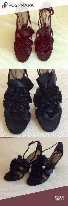 Black NIne West Heels Black satin dress heels from Nine West. Worn once to a wedding. Great condition. Size 6M Nine West Shoes Heels
