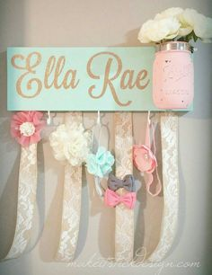 Headband Bow Holder, Custom Name Board Baby Girl, Mint Painted Board - Baby nursery - Diy 2019, Do It Yourself Baby, Baby Girl Headbands, Girl Onsies, Onesies, Everything Baby, Baby Time, My Baby Girl, Cute Baby Girl Names