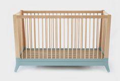 Wooden Green Crib by Nobodinoz  Cuna de madera de haya color verde de Nobodinoz