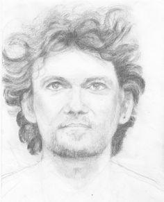 "Jonas Kaufmann ""Parla piu piano"" pencil on paper by Cathie Hubert"