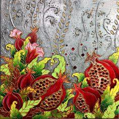 Автоматический альтернативный текст отсутствует. Beautiful Flower Drawings, Beautiful Flowers, Pomegranate Art, Hand Embroidery Stitches, Acrylic Pouring, Stained Glass, Mosaic, Abstract, Antiques