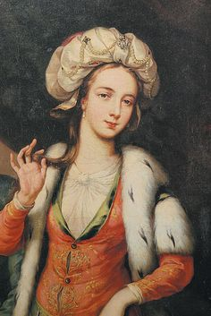 ▴ Artistic Accessories ▴ clothes, jewelry, hats in art - Unknown Artist   Lady Mary Wortley Montagu, circa 1718
