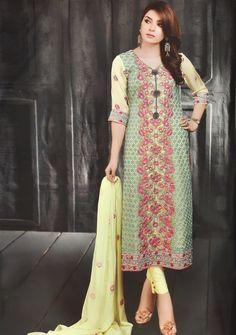 Light Green Georgette Pakistani Style Suit 66182